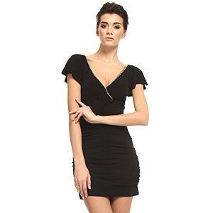Mystictimes Göğüsü taş işlemeli , sırtı dantelli siyah elbise