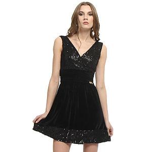 Mystictimes Kadife Etekli Siyah Elbise