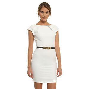 Mystictimes Kayık Yaka Beyaz Elbise