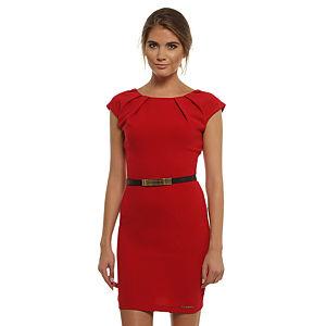 Mystictimes Kayık Yaka Kırmızı Elbise