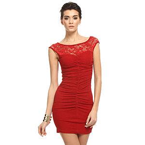 Mystictimes Kırmızı Dantelli Elbise