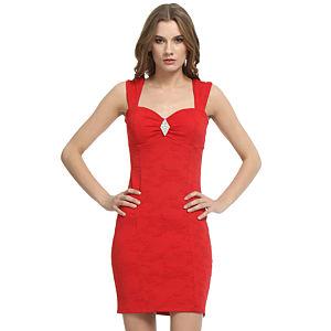 Mystictimes Kırmızı Desenli Elbise