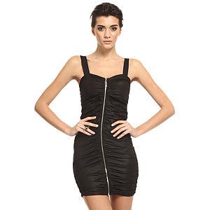 Mystictimes Siyah deri efektli fermuarlı elbise