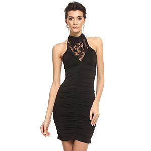 Mystictimes Siyah dik yaka göğüsü dantel elbise