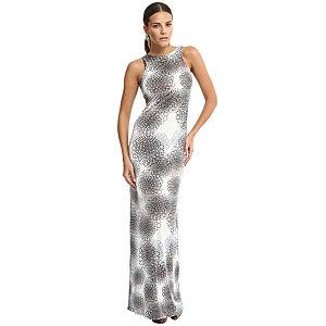 Özgül Engin Geometrik Desenli Krem/Lacivert Elbise