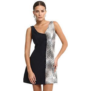 Özgül Engin Lacivert/Krem Rengi Mini Elbise