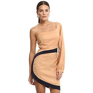 Özgül Engin Tek Omuzlu Somon Elbise