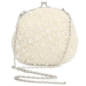 Pieces İnci İşlemeli Beyaz Çanta