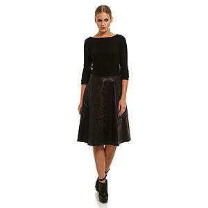 Roman Deri Etekli Siyah Elbise