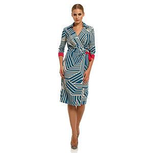Roman Geometrik Desenli Mavi Elbise