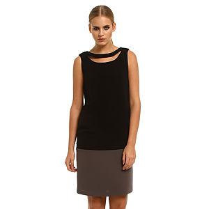 Roman Gri Etekli Siyah Elbise