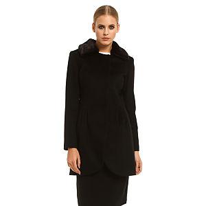 Roman Kürklü Siyah Palto