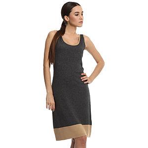 Silk & Cashmere Gri İpek/Kaşmir Elbise