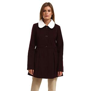 Vero Moda Beyaz Yakalı Bordo Palto