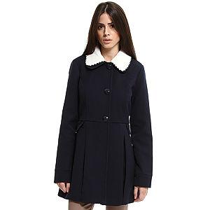 Vero Moda Beyaz Yakalı Lacivert Palto