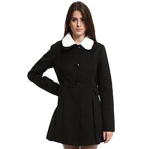 Vero Moda Beyaz Yakalı Siyah Palto