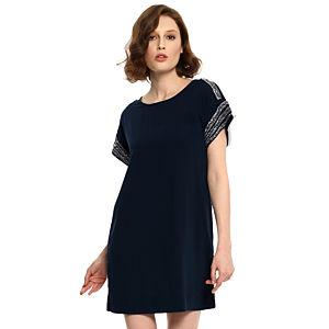 Vero Moda İşlemeli Lacivert Elbise