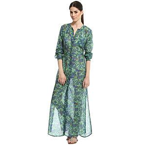 Won Hundred Desenli Yeşil/Mavi Uzun Elbise