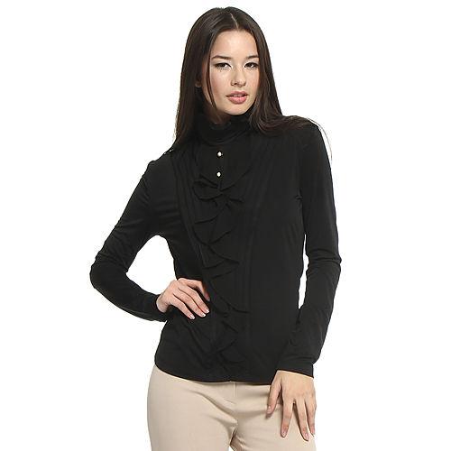 Balizza Fırfırlı Siyah Bluz