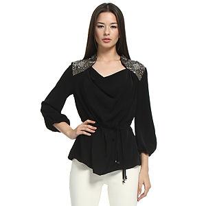 Balizza Omuzları İşlemeli Siyah Bluz