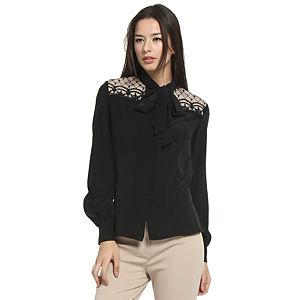 Balizza Omuzları İşlemeli Siyah İpek Gömlek