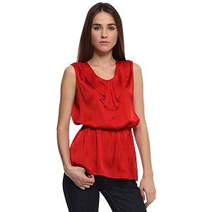Enmoda Büzgülü Kırmızı Saten Bluz