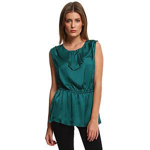 Enmoda Büzgülü Yeşil Saten Bluz