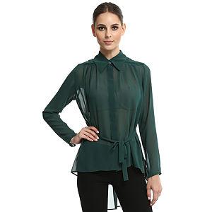 Enmoda Yeşil Şifon Gömlek