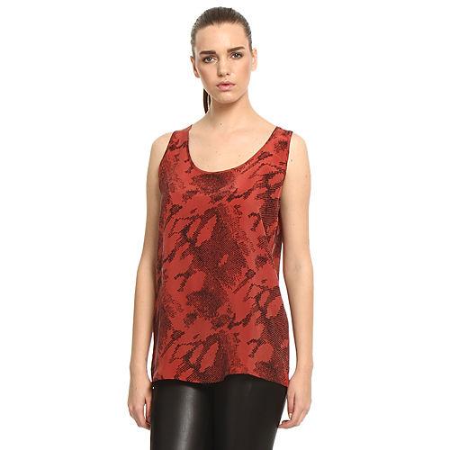 Sade İstanbul Desenli Kırmızı Bluz