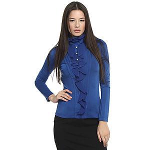 Balizza Fırfırlı Saks Mavisi Bluz