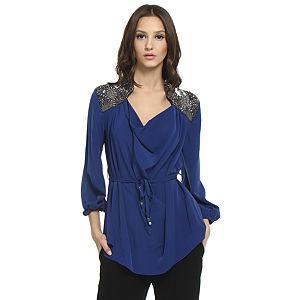Balizza Omuzları İşlemeli Saks Mavisi Bluz