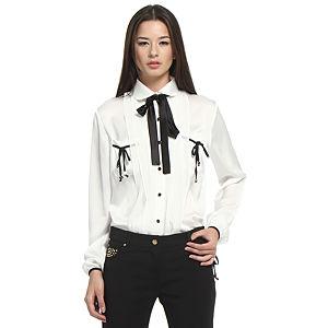 Balizza Siyah Fiyonklu Beyaz Gömlek