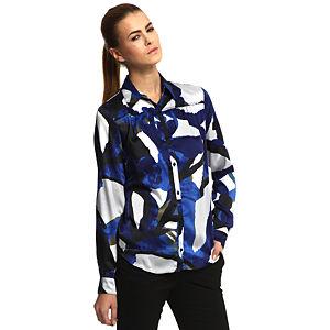 Benetton Desenli Mavi/Beyaz Gömlek
