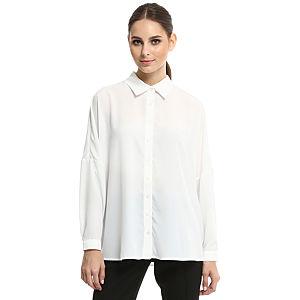 Enmoda Yarasa Kollu Beyaz Gömlek