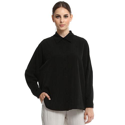 Enmoda Yarasa Kollu Siyah Gömlek