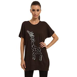 Enmoda Zürafa Desenli Kahverengi Tunik
