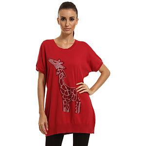 Enmoda Zürafa Desenli Kırmızı Tunik