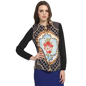 Koton Çiçek Desenli Siyah Bluz