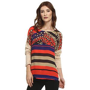 Koton Kırmızı/Bej Desenli Bluz