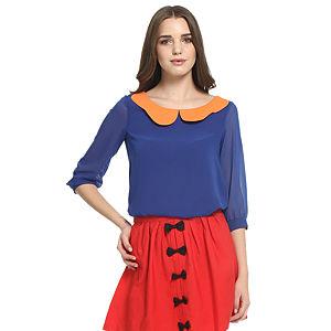 Koton Ole Turuncu Yakalı Saks Mavisi Bluz