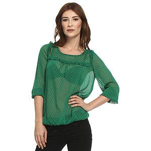 Koton Ole Yıldızlı Yeşil Bluz
