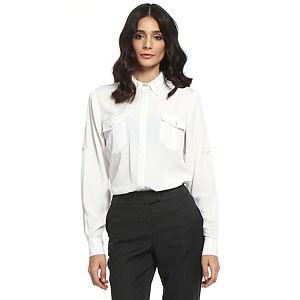 Koton Yakası Taş İşlemeli Krem Gömlek