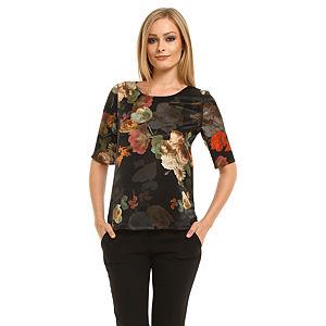 Roman Çiçekli Siyah Bluz