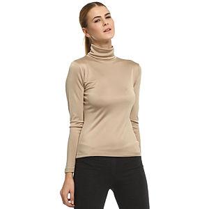 Silk & Cashmere Boğazlı Bej İpek Bluz