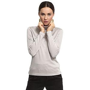 Silk & Cashmere Boğazlı Gri İpek Bluz