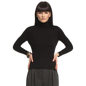 Silk & Cashmere Boğazlı İpek/Kaşmir Siyah Kazak
