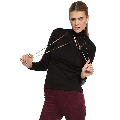 Silk & Cashmere Boğazlı Siyah İpek Bluz