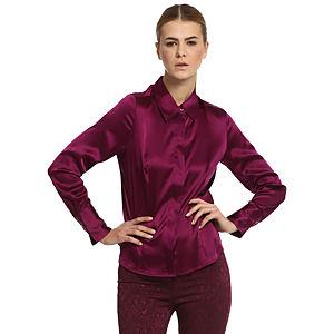 Silk & Cashmere Bordo İpek Gömlek