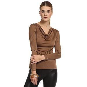 Silk & Cashmere Degaje Yaka Kahverengi İpek Bluz