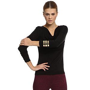 Silk & Cashmere Degaje Yaka Siyah İpek Bluz